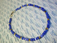 11 1/4 inch Blue Glass Bead Ankle Bracelet w/ Gold Spacers E-57