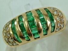 DESIGNER STYLE 18CT YELLOW GOLD DOMED EMERALDS DIAMONDS BAND STYLE RING