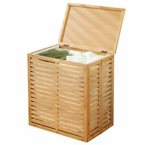 mDesign Bamboo Single Hamper Basket with Removable Liner - Natural Bamboo