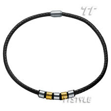 TT Black Leather With Two-Tone S.Steel Magnet Buckle Collar Necklace (CL10)