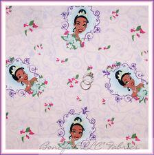 BonEful Fabric Cotton Quilt Pink Purple Disney Princess & The Frog Flower SCRAP