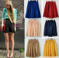 Hot! Women Double Layer Retro High Waist Pleated Chiffon Short Mini Skirts Dress