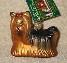 Old World Christmas Glass Yorkie / Yorkshire Terrier Ornament - Nwt
