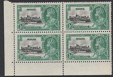 Malta (744) 1935 KG5 argent jubilee1/2d FLAGSTAFF enlevé variété U / M