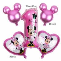 Disney Mickey Minnie Mouse Happy 1st Birthday Foil Balloons Party Decoration Set
