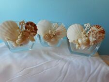 Sea Shell Candle Holder -Artist Created - Coastal Nautical Decor