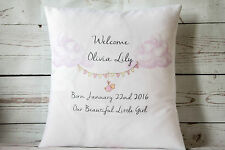 "Personalised Welcome Baby Girl - 16"" white cushion cover Shabby Chic Nursery"