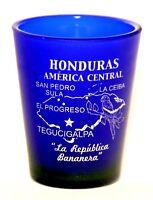 HONDURAS COBALT BLUE FROSTED SHOT GLASS SHOTGLASS