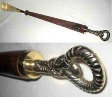 Schuhanzieher Schuhlöffel Aluminium silber im Antik-Stil 62cm