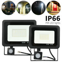 Slimline Outdoor Security Light Flood LED PIR Motion Sensor Cool Floodlight 50W