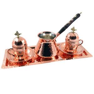 10 Pc Copper Turkish Greek Arabic Coffee Espresso Set with Pot Cups Saucers Tray