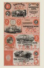 Lawrence, Kansas - The Lawrence Bank $1-$2-$3-$5 Uncut Proof Sheet REPRODUCTION