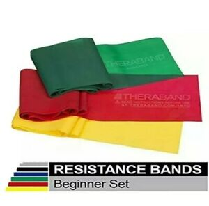 Theraband Set Yellow, Red, Green Resistance Band - 3FT each Physical Therapy