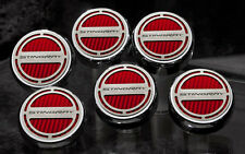 C7 Corvette Manual 6pc Engine Cap Cover Set - Red w/ Stingray Name Letters Logo