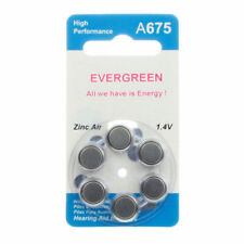 Hearing Aid Battery A675/B6 Evergreen 6pk, Size 675, 1.4V Fast Usa Ship