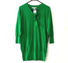 NEW CAbi Medium Sweater #882 Lucky Green Pullover Knit V Neck Tie Front Cotton