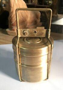 Vintage Rare Original Brass 2 Compartment Tiffin Lunch Box Kitchen Collection