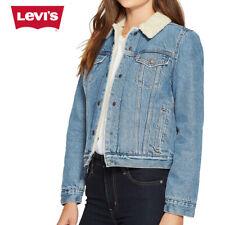 Levis женские шерпа на подкладке джинсовая куртка дальнобойщика