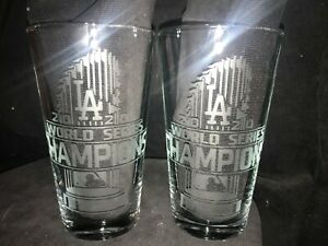 2020 WORLD SERIES CHAMPION LOS ANGELES DODGERS (2) ETCHED 16 oz PINT GLASSES