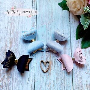 Small Personalised School Bow, Toddler Hair Clip, Any Colour, Any Name