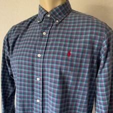 Ralph Lauren Men's Blue Plaid Classic Fit Long Sleeve Cotton Dress Shirt M $100