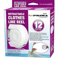 12 m rétractable vêtements Moulinet Ligne Revêtement PVC Sèche-linge lavage extérieur + Fixations Neuf