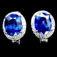 NATURAL 7 X 9mm. BLUE SAPPHIRE & WHITE CZ STERLING 925 SILVER EARRINGS