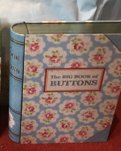 CATH KIDSTON The Big Book Of Buttons Sewing Tin Provence Rose Shabby Chic Unique