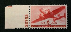 US Stamp Scott #C25 ~ Twin-Motor Transport Airmail 6c  1941 Airmail MH GR07