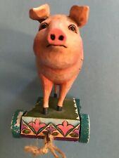 "Jim Shore Spotted Pig 7.5"" Figurine 4008184 Green Cart Purple Blanket Farm."