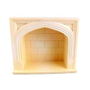 Dolls House Miniature 1:12 Scale Furniture Cream Resin Tudor Fireplace