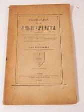 LOUIS DESCOMBES RECHERCHES SUR LE FAUBOURG SAINT-ANTOINE 1905 Paris