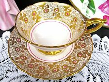 ROYAL STAFFORD  TEA CUP AND SAUCER GOLD GILT FLORAL PINK BEADED TEACUP PATTERN