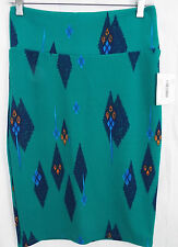 LuLaRoe Cassie Skirt SMALL in Green Blue Orange Abstract Feather   NWT