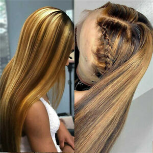 Fashion Ombre Brown Human Hair Wigs Brazilian-Full Lace-Remy Lace Front Wig UK ~