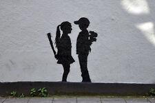 Banksy poster Boy Meets Girl  8X12 canvas print street art graffiti