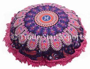 Indian Round Mandala Cushion Cover Set of 2 Decorative Sofa Floral Pillow Shams