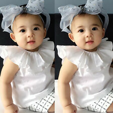 UK Infant Toddler Casual Shirt Crew Neck Ruffle Tops Kids Baby Girl Blouse White