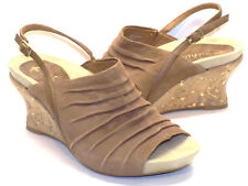 Earthies Kelderra Brown Suede Peep Toe Wedge Sandals Women's US Shoe Size 6M