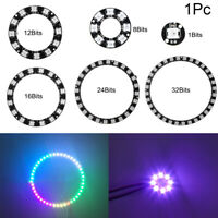 New Addressable Black Panel DC5V 1 8 12 16 24 32 Bits 5050 WS2812B RGB LED Ring
