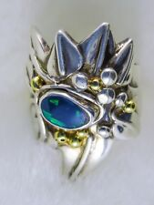 Stunning Handmade Solid Opal Ring with Sterling Silver with18ct Gold Bud Accents