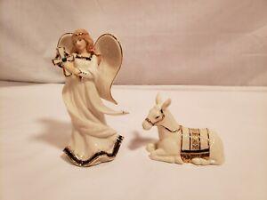"Hawthorne Village Irish Nativity Angel & Donkey Figurines, ""Standing Angel"""