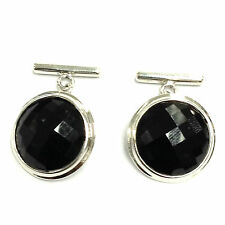 ANTIQUE STYLE BLACK ONYX CUFFLINKS 925 SOLID SILVER MENS GIFT