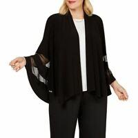 R & M RICHARDS Women's Black Plus Size Illusion-trim Shrug Jacket Top 1X TEDO