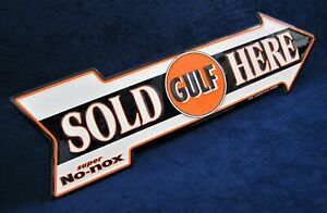 GULF Sold Here arrow - *US MADE* Embossed Metal Sign - Man Cave Garage Bar Decor
