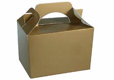 12 Kids Birthday Party Wedding Meal Lunch Food Gift Loot Favour Bag Gold Boxes