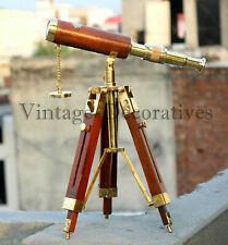 Nautical Vintage Brass Maritime Pirate Marine Antique Telescope W/ Wooden Tripod