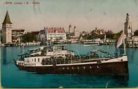 2288: Ansichtskarte Postkarte Lindau im Bodensee Hafen Schiff 1912