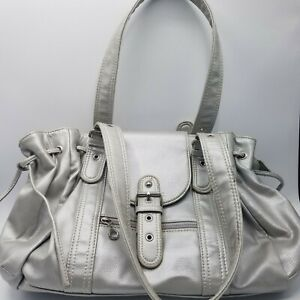 """Large Hobo Silver Bag 14"""" W x 10 H Synthetic Faux Leather."""