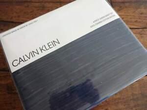 CALVIN KLEIN NAVY Striated STRIPE Combed COTTON SATEEN  XDP QUEEN SHEET Set